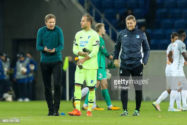 HEad coach Julian Nagelsmann of Hoffenheim speak with goalkeeper Oliver Baumann of Hoffenheim during the UEFA Europa League Group C match between...
