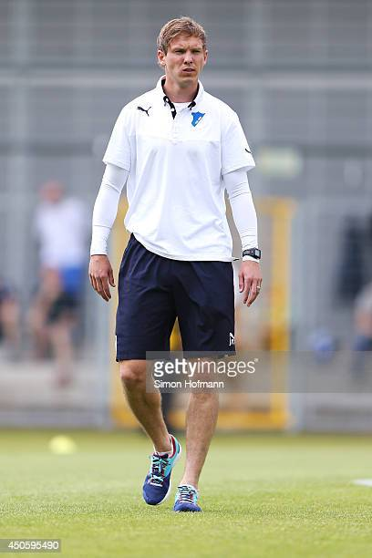 Head coach Julian Nagelsmann of Hoffenheim walks over the pitch prior to the A Juniors Bundesliga Semi Final between 1899 Hoffenheim and FC Schalke...