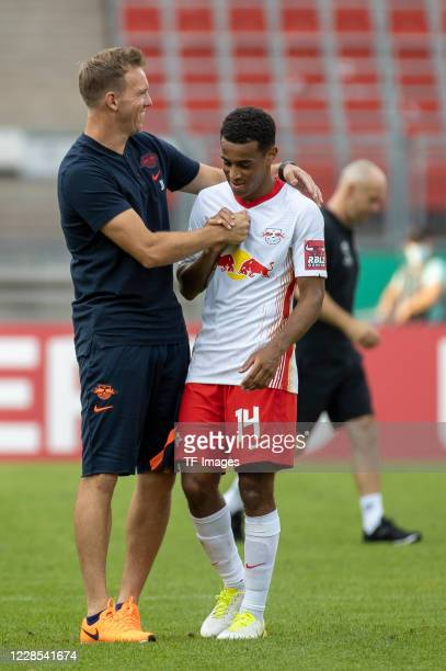 head coach Julian Nagelsmann of RB Leipzig and Tyler Adams of RB Leipzig during the DFB Cup first round match between 1 FC Nuernberg and RB Leipzig...