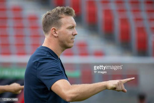 head coach Julian Nagelsmann of RB Leipzig during the DFB Cup first round match between 1 FC Nuernberg and RB Leipzig at MaxMorlockStadion on...