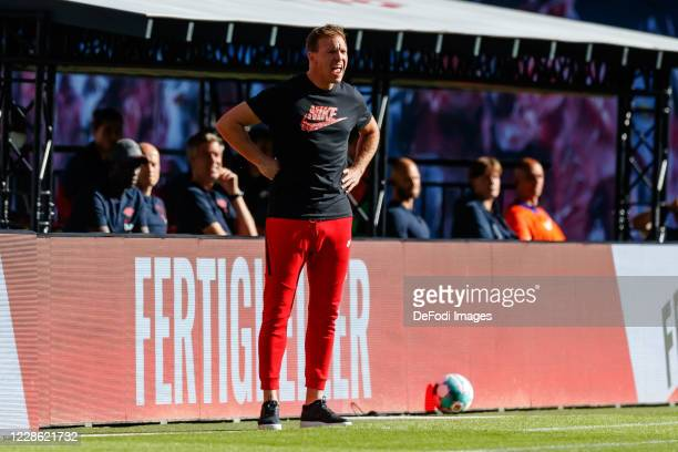 head coach Julian Nagelsmann of RB Leipzig gestures during the Bundesliga match between RB Leipzig and 1 FSV Mainz 05 at Red Bull Arena on September...