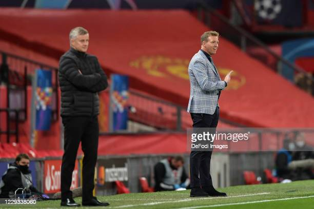 head coach Julian Nagelsmann of RB Leipzig looks on during the UEFA Champions League Group H stage match between Manchester United and RB Leipzig at...