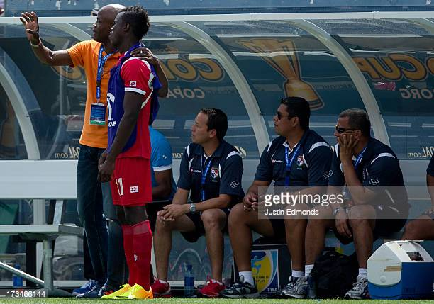 Head Coach Julio Cesar Dely Valdes of Panama talk with Cecilio Waterman of Panama during the second half of a CONCACAF Gold Cup match against Canada...