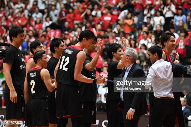 Head Coach Julio Lamas and Yuta Watanabe of Japan celebrate after defeating Iran 7056 in the FIBA Men's World Cup Asian Qualifier 2nd Round Group F...