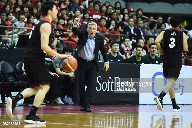 Head coach Julio Lamas of Japan reacts during the FIBA World Cup Asian Qualifier Group B match between Japan and Australia at Chiba Port Arena on...