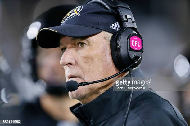 Head coach June Jones of the Hamilton TigerCats during a game against the Calgary Stampeders at Tim Hortons Field on October 13 2017 in Hamilton...