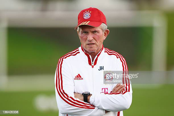 Head coach Jupp Heynckes looks on during a training session of Bayern Muenchen at the ASPIRE Academy for Sports Excellence on January 4 2012 in Doha...