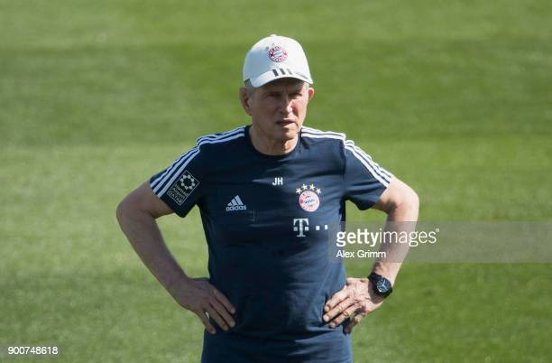 Head coach Jupp Heynckes looks on during a training session on day 2 of the FC Bayern Muenchen training camp at ASPIRE Academy for Sports Excellence...