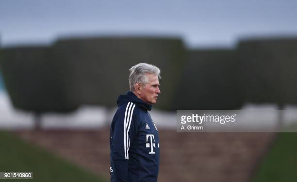 Head coach Jupp Heynckes looks on during a training session on day 4 of the FC Bayern Muenchen training camp at ASPIRE Academy for Sports Excellence...