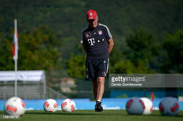 Head coach Jupp Heynckes of Bayern looks on during day two of the Bayern Muenchen preseason training camp at Arco Stadium on July 16 2012 in Arco...