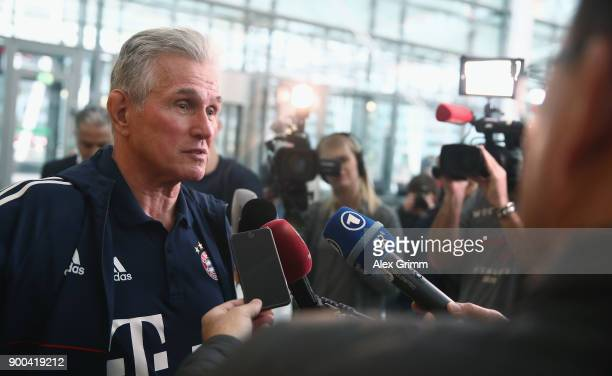 Head coach Jupp Heynckes of Bayern Muenchen arrives at the airport for the departure to the team's training camp in Doha Qatar on January 2 2018 in...