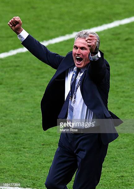 Head Coach Jupp Heynckes of Bayern Muenchen celebrates after winning the UEFA Champions League Final against Borussia Dortmund at Wembley Stadium on...