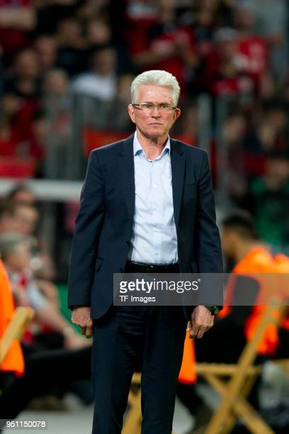 Head coach Jupp Heynckes of Bayern Muenchen looks on during the DFB Cup semi final match between Bayer 04 Leverkusen and Bayern Muenchen at BayArena...