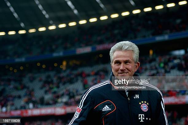 Head coach Jupp Heynckes of Bayern reacts prior to the Bundesliga match between FC Bayern Muenchen and SpVgg Greuther Fuerth at Allianz Arena on...