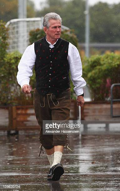 Head coach Jupp Heynckes of FC Bayern Muenchen arrives for the Paulaner photocall at Bayern Muenchen's trainings ground Saebener Strasse on September...