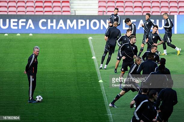 Head coach Jupp Heynckes of FC Bayern Muenchen looks on during a training session ahead of their UEFA Champions League Semifinal second leg match...