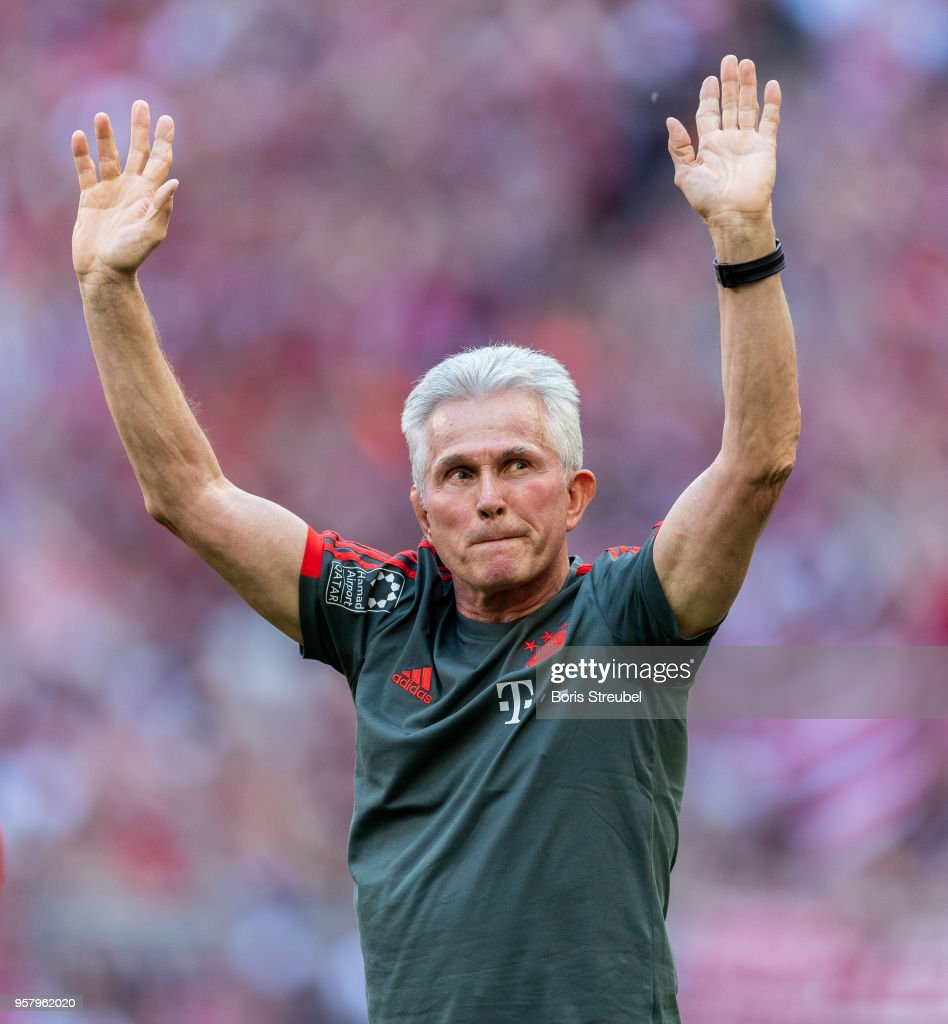 Head coach Jupp Heynckes of FC Bayern Muenchen waves to his fans during a farewell ceremony prior to the Bundesliga match between FC Bayern Muenchen and VfB Stuttgart at Allianz Arena on May 12, 2018 in Munich, Germany.