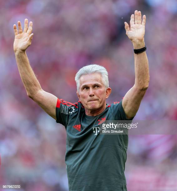 Head coach Jupp Heynckes of FC Bayern Muenchen waves to his fans during a farewell ceremony prior to the Bundesliga match between FC Bayern Muenchen...