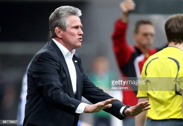 Head coach Jupp Heynckes of Leverkusen gestures during the Bundesliga match between Bayer Leverkusen and Hertha BSC Berlin at the BayArena on May 1,...