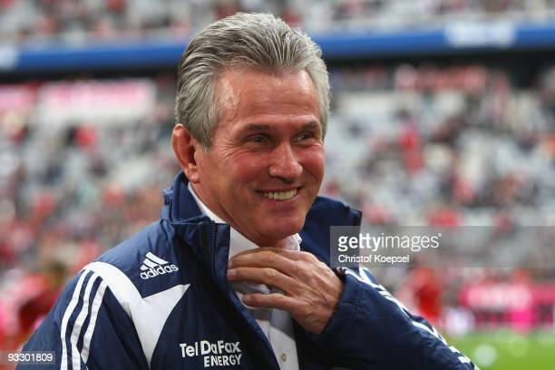 Head coach Jupp Heynckes of Leverkusen smiles prior to the Bundesliga match between Bayern Muenchen and Bayer Leverkusen at the Allianz Arena on...