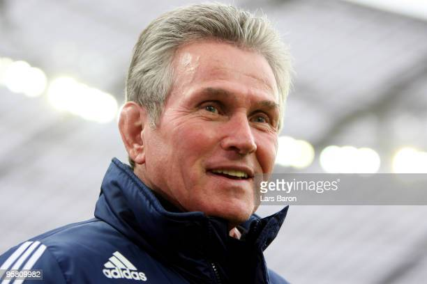 Head coach Jupp Heynckes of Leverkusen smiles prior to the Bundesliga match between Bayer Leverkusen and FSV Mainz 05 at BayArena on January 16 2010...