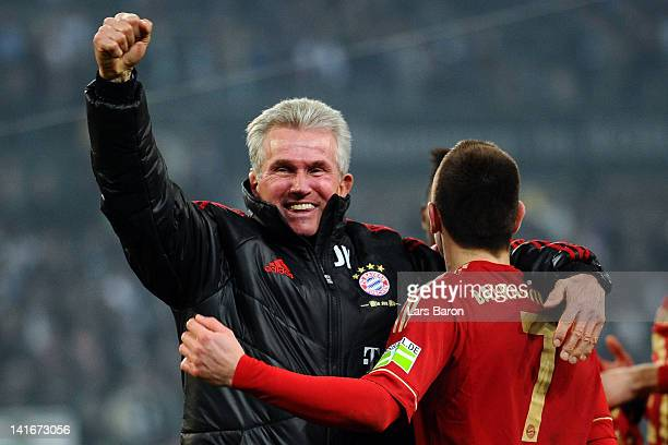 Head coach Jupp Heynckes of Muenchen celebrates with Franck Ribery after winning the DFB Cup semi final match between Borussia Moenchengladbach and...