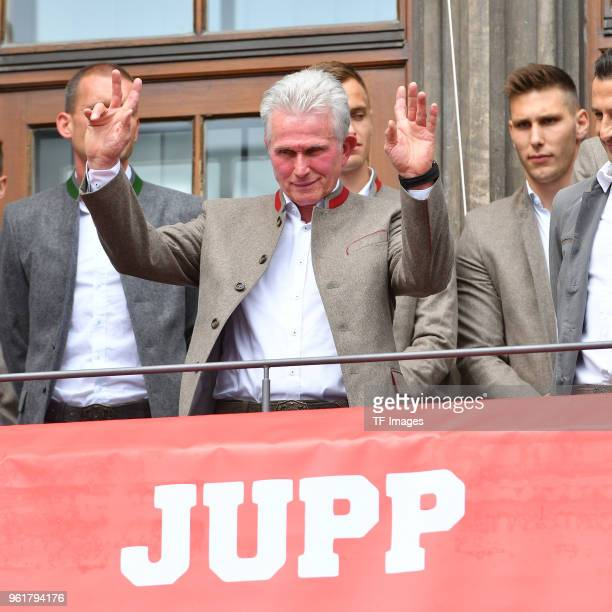 Head coach Jupp Heynckes of Muenchen is honored during the celebration of FC Bayern Muenchen at the Marienplatz on May 20 2018 in Munich Germany