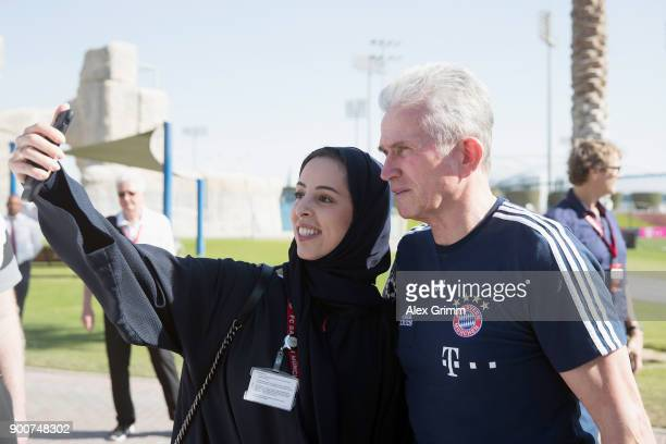 Head coach Jupp Heynckes poses for selfies during a training session on day 2 of the FC Bayern Muenchen training camp at ASPIRE Academy for Sports...