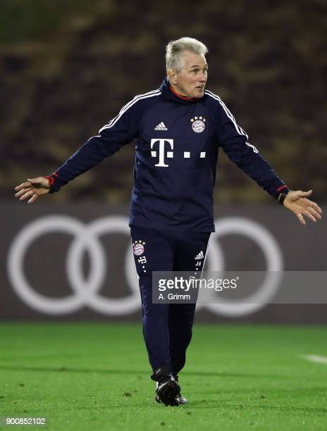 Head coach Jupp Heynckes reacts during a training session on day 2 of the FC Bayern Muenchen training camp at ASPIRE Academy for Sports Excellence on...