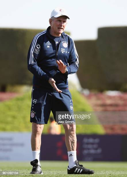 Head coach Jupp Heynckes reacts during a training session on day 3 of the FC Bayern Muenchen training camp at ASPIRE Academy for Sports Excellence on...