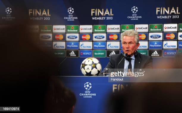 Head Coach Jupp Heynckes speaks during a FC Bayern Muenchen press conference ahead of the UEFA Champions League final match against Borussia Dortmund...