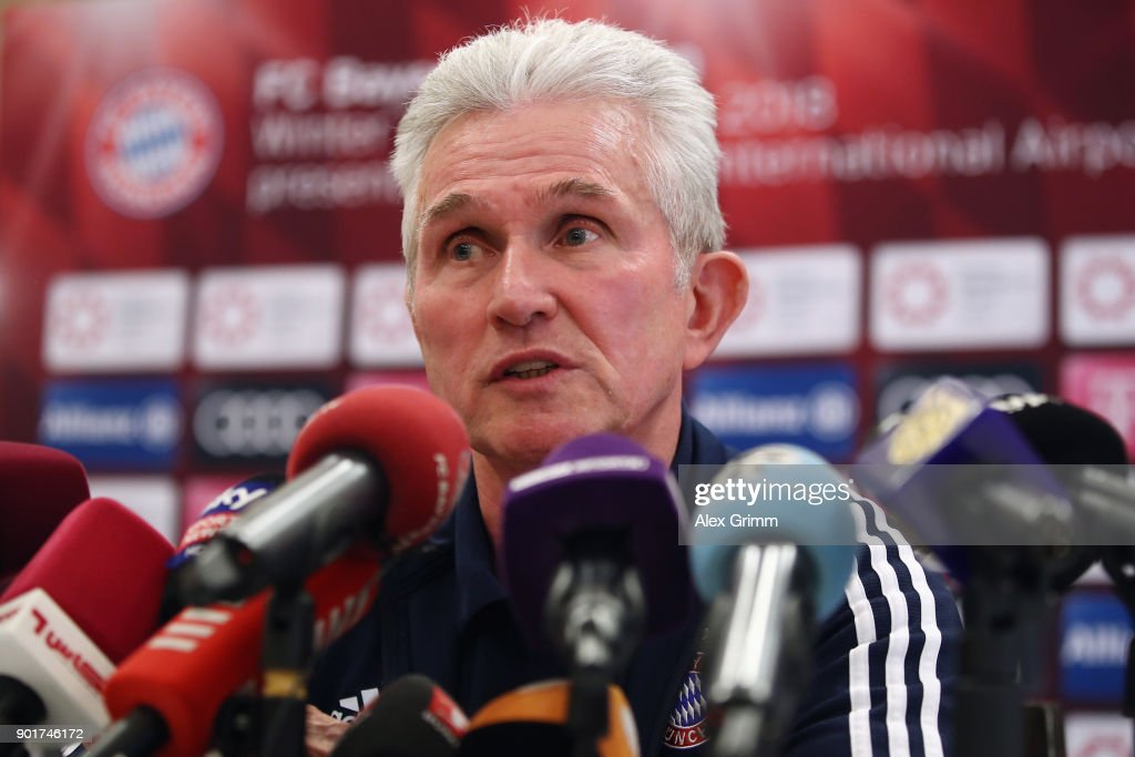 Head coach Jupp Heynckes talks to the media during a press conference on day 4 of the FC Bayern Muenchen training camp at Moevenpick Al Aziziyah Hotel on January 5, 2018 in Doha, Qatar. on January 5, 2018 in Doha, Qatar.