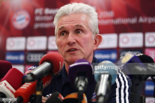 Head coach Jupp Heynckes talks to the media during a press conference on day 4 of the FC Bayern Muenchen training camp at Moevenpick Al Aziziyah...