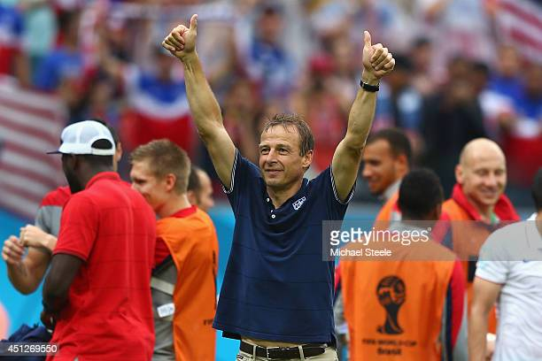 Head coach Jurgen Klinsmann of the United States acknowledges the fans after being defeated by Germany 10 during the 2014 FIFA World Cup Brazil group...