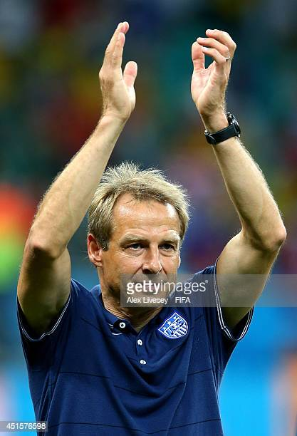 Head coach Jurgen Klinsmann of the United States acknowledges the fans after the 12 defeat in the 2014 FIFA World Cup Brazil Round of 16 match...