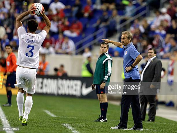 Head coach Jurgen Klinsmann of the United States gives instructions against Costa Rica during the first half at Red Bull Arena on October 13 2015 in...