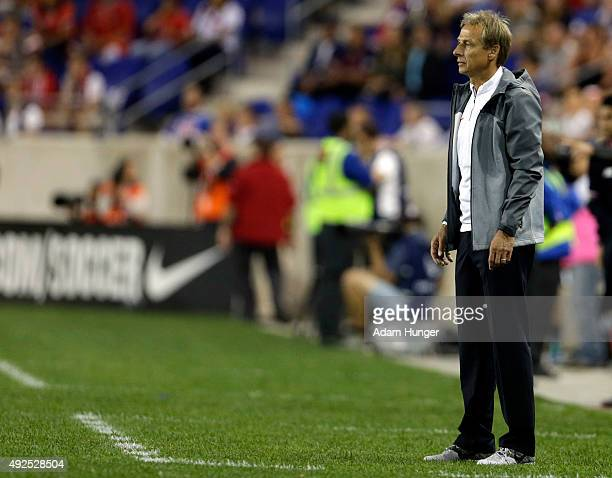 Head coach Jurgen Klinsmann of the United States looks on against Costa Rica during the second half at Red Bull Arena on October 13 2015 in Harrison...