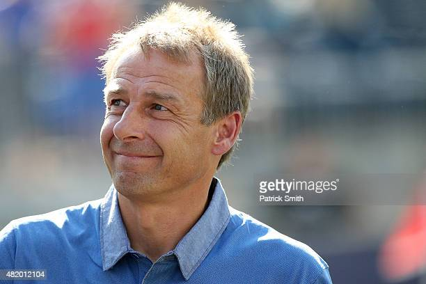 Head coach Jurgen Klinsmann of the United States looks on before playing Panama during the CONCACAF Gold Cup Third Place Match at PPL Park on July 25...