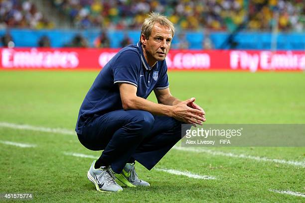 Head coach Jurgen Klinsmann of the United States looks on during the 2014 FIFA World Cup Brazil Round of 16 match between Belgium and USA at Arena...