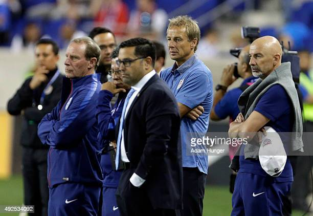 Head coach Jurgen Klinsmann of the United States looks on prior to taking on Costa Rica at Red Bull Arena on October 13 2015 in Harrison New Jersey