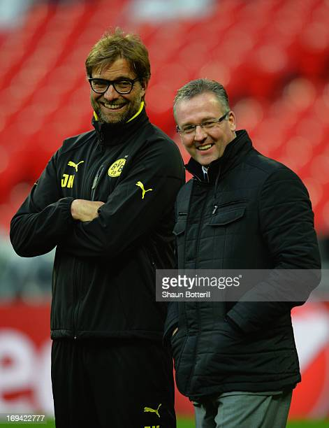 Head Coach Jurgen Klopp of Borussia Dortmund and Manager Paul Lambert of Aston Villa during a Borussia Dortmund training session ahead of the UEFA...