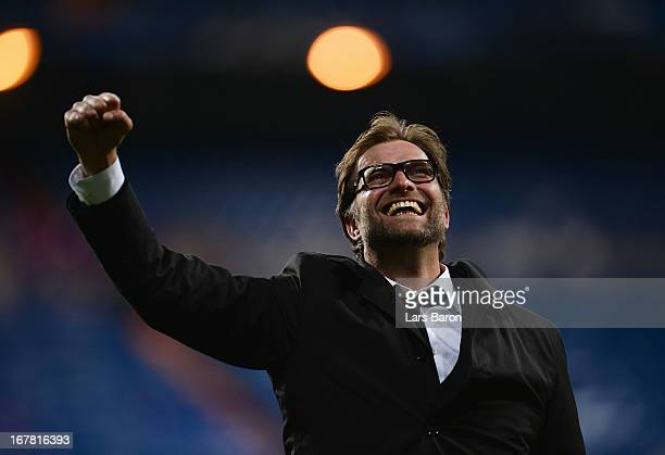 Head Coach Jurgen Klopp of Borussia Dortmund celebrates after the UEFA Champions League Semi Final Second Leg match between Real Madrid and Borussia...
