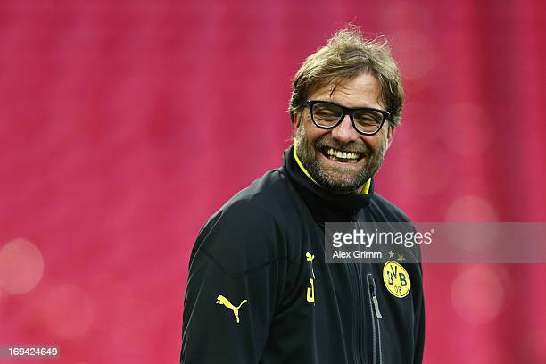 Head Coach Jurgen Klopp of Borussia Dortmund during a Borussia Dortmund training session ahead of the UEFA Champions League final match against FC...
