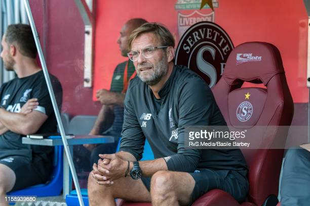 Head Coach Jurgen Klopp of Liverpool FC looks on during the Pre-Season Friendly match between Liverpool FC and Olympique Lyonnais at Stade de Geneve...