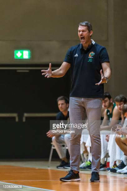 Head coach Jurica Golemac of Cedevita Olimpija Ljubljana gestures during the pre-season friendly match between Ratiopharm Ulm and KK Olimpija at...