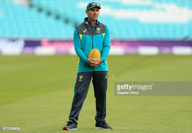 Head Coach Justin Langer of Australia during an Australia Net Session at The Kia Oval on June 12 2018 in London England
