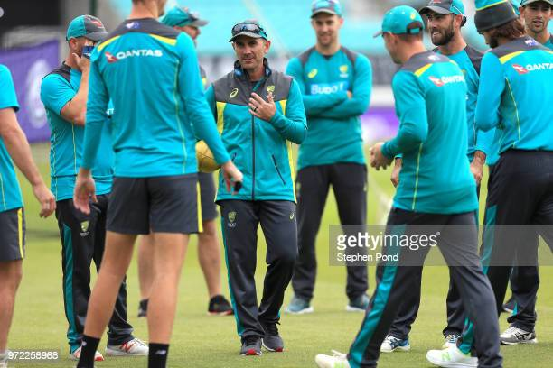 Head Coach Justin Langer of Australia speaks to his players during an Australia Net Session at The Kia Oval on June 12 2018 in London England