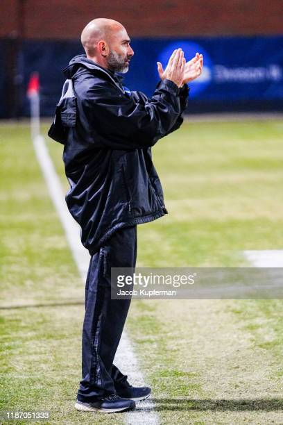 Head coach Justin Serpone of Amherst Mammoths before the Division III Men's Soccer Championship held at UNCG Soccer Stadium on December 7 2019 in...