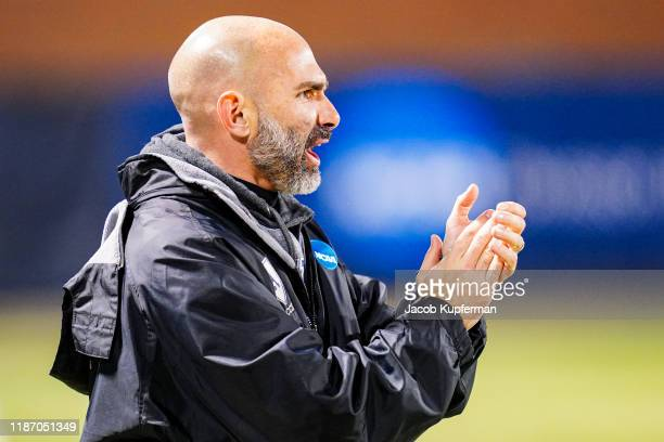 Head coach Justin Serpone of Amherst Mammoths during the Division III Men's Soccer Championship held at UNCG Soccer Stadium on December 7 2019 in...