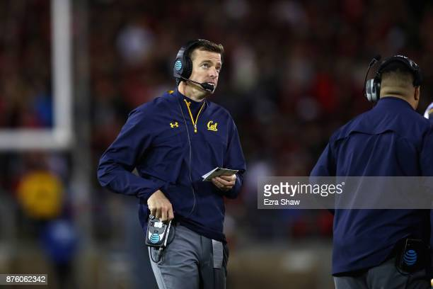 head coach Justin Wilcox of the California Golden Bears stands on the field during a time out of their game against the Stanford Cardinal at Stanford...